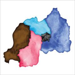 Map of Rwanda. Colourful watercolor Rwanda map. Amusing country vector illustration.