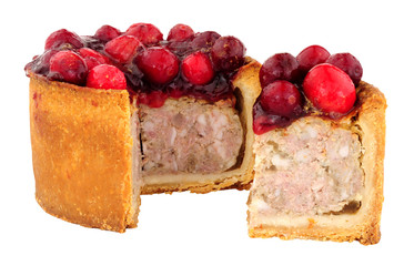Zelfklevend Fotobehang Buffet, Bar Pork pie topped with cranberries isolated on a white background