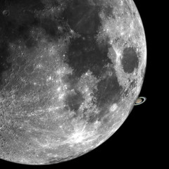 Great composition of a big shining Moon and Saturn, taken all with large newtonian telescope, its a fantasy occultation of the planet to our natural satellite.