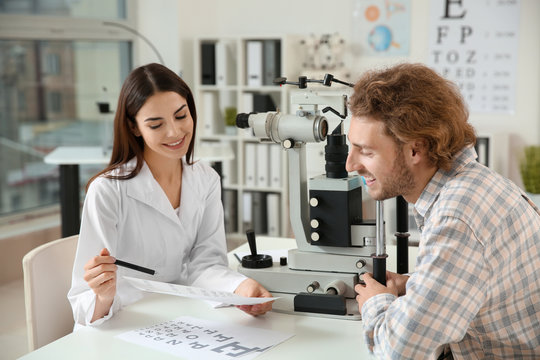 Man visiting ophthalmologist in clinic