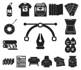 Typographical products black icons in set collection for design. Printing and equipment vector symbol stock web illustration.