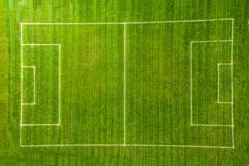 aerial view top view of football court