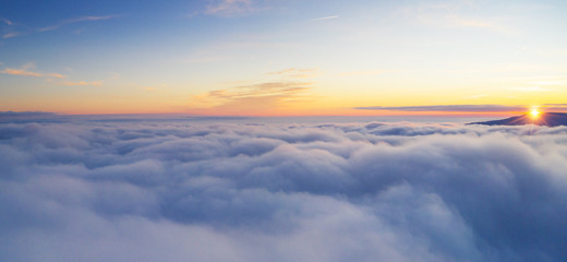 Wall Murals Air photo Beautiful sunrise cloudy sky from aerial view