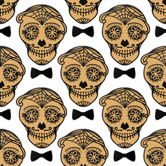 Vector Seamless pattern Gold Calavera skull. Hand drawn male design texture