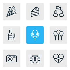 Vector illustration of 9 holiday icons line style. Editable set of beverage, mic, confetti and other icon elements.