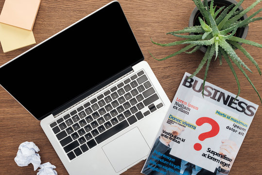 top view of laptop, business magazine and potted plant on wooden tabletop