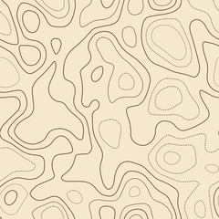 Topographic contours. Actual topographic map. Seamless design, alluring tileable isolines pattern. Vector illustration.