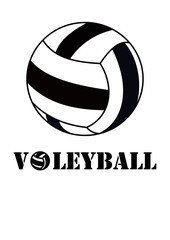 Volleyball black and white ball and  text vector illustration graphic design