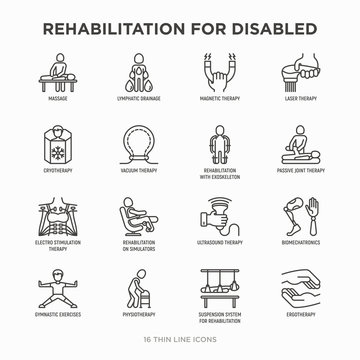 Rehabilitation for disabled thin line icons set: magnetic therapy, laser, massage, lymphatic drainage, exoskeleton, cryotherapy, physiotherapy, biomechatronics, suspension system. Vector illustration.