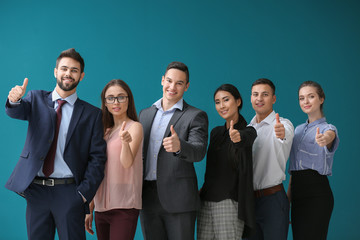 Team of young people on color background