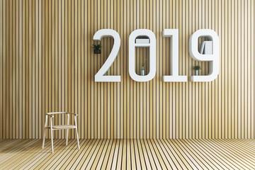 3D Rendering : illustration of 2019 book shelf against wooden tile wall and floor. living room interior design. minimal living room decoration concept. rest area of house