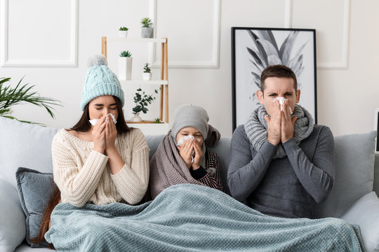 Family ill with flu at home