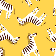Fototapeta zebra seamless pattern on yellow background, summer kids and nursery fabric textile print
