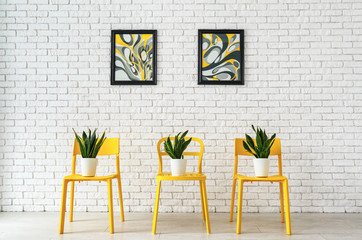 Chairs with houseplants near white brick wall