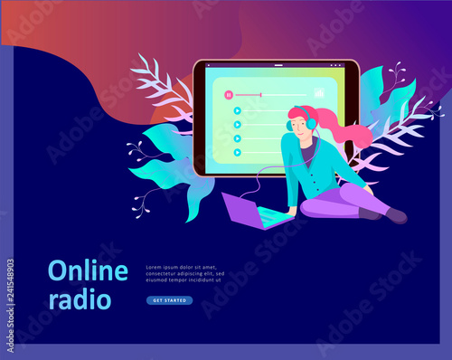 Concept of internet online radio streaming listening, people relax