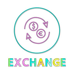 Wall Mural - Exchange Round Linear Icon for Online Commerce