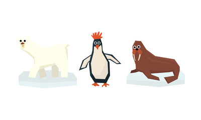Collection of cute geometric Arctic animals, polar bear, penguin, walrus vector Illustration on a white background