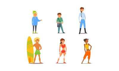Different people, young and adult men and women characters of different appearance and hobbies vector Illustration