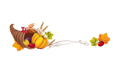 Thanksgiving banner with cornucopia and space for text, autumn vegetables and leaves vector Illustration