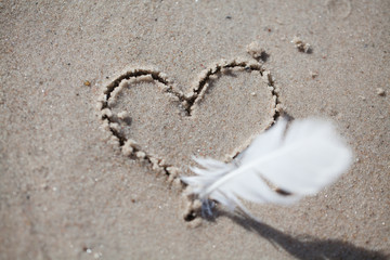 heart drawn on the sand, on the beach. heart drawn with a pen
