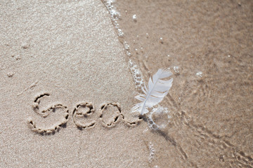 "inscription on the beach ""sea"". holiday, beach, inscription on the sand,"