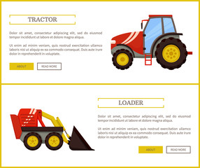 Loader Bulldozer and Tractor Vector Illustration