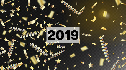 2019 Fireworks Glitter Confetti Card Background. Cool Sparkling Christmas, New Year, Birthday Party Holiday Scatter. Horizontal Lights Stardust Background. Gold Fireworks Glitter Confetti
