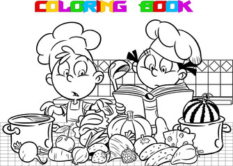 The vector illustration shows how funny children cook food in the kitchen. Boy and girl want to learns how to cook vegetables and reads a cookbook with recipes. Done in the black white outline.