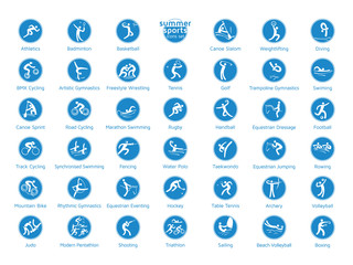 Summer sports icons set, vector pictograms.