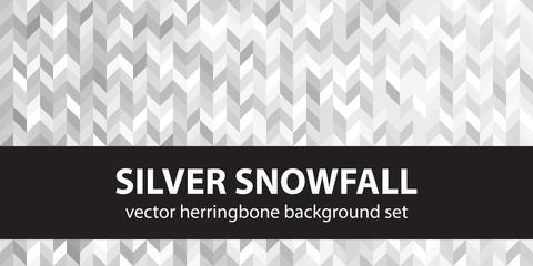 Herringbone pattern set Silver Snowfall. Vector seamless parquet backgrounds