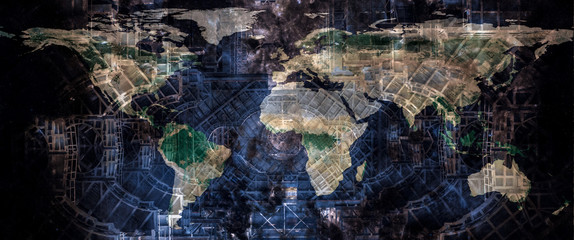 Techno world concept. World map on the abstract futuristic construction design structure background. The elements of this image furnished by NASA.