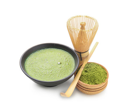 Composition with matcha tea on white background