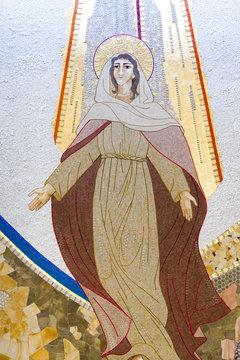 Caklov, Slovakia. 2018/7/27. The mosaic of the Assumption of Virgin Mary. The parish church of the Assumption of Virgin Mary.