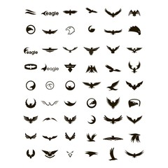 set of modern eagle logo design vector