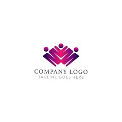 family logo design vector with M letter concept