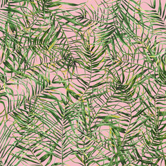 Printed roller blinds Tropical Leaves Tropical palm leaves background.Hand drawn illustration