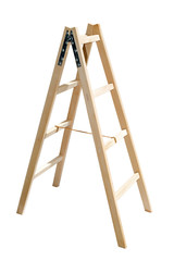 Studio Shot Of Wooden Ladders Isolated On White Background