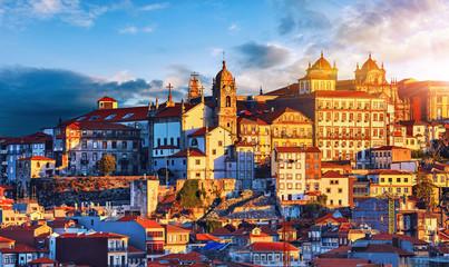 Porto, Portugal. Sunset above old portuguese town scenic sky Fototapete