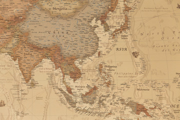 Ancient geographic map of Asia with names of the countries