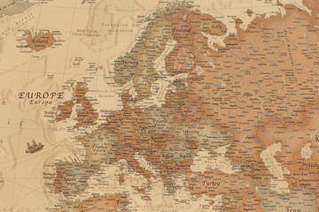 Ancient geographic map of Europe with names of the countries