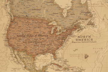 Ancient geographic map of north America with names of the countries