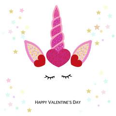 Happy Valentine's day greeting card with unicorn. Magical unicorn birthday invitation with shining hearts