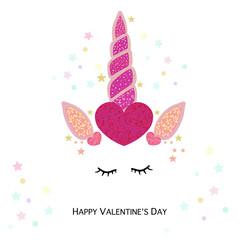 Magical unicorn valentine's day hearts. Happy Valentine's day greeting card with unicorn