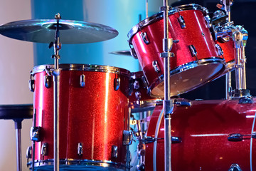 Close-up of musical drum set is ready to play in a live stage programmed.