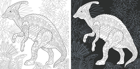 Coloring pages with Hadrosaur dinosaur