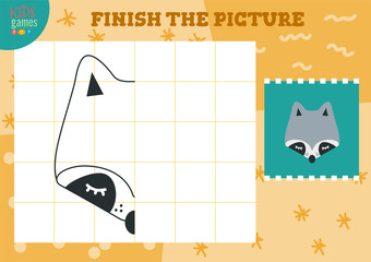Copy and complete picture vector blank game, illustration