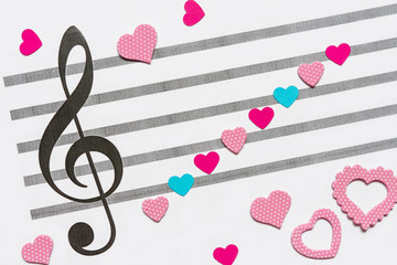 notes of the heart on the stave and the treble clef, the idea of valentine's day, love, music, holiday