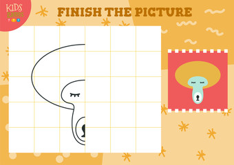 Copy and complete picture vector blank game, illustration.
