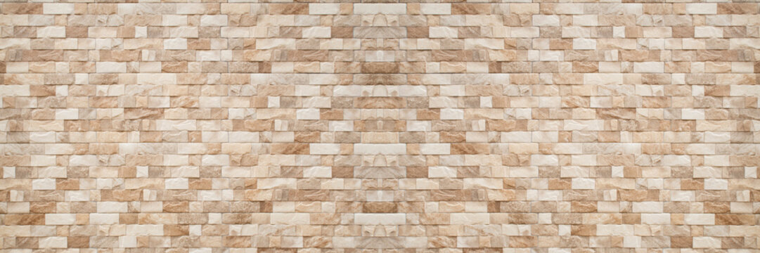 panorama of brown Slate Marble Split Face Mosaic  pattern and background
