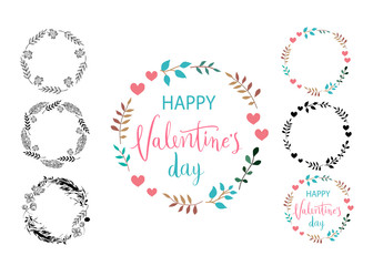 Happy Valentines Day card. Frame set. Perfect for holiday. Flat stylish design. Vector illustration.